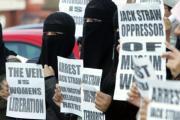 Mujeres musulmanas protestaban
